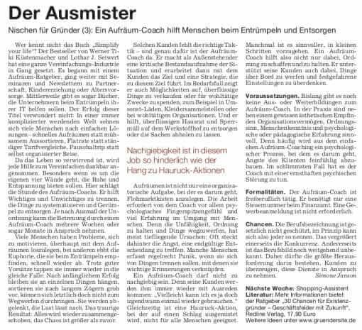 Der Ausmister – Aufräumcoach in der Süddeutschen