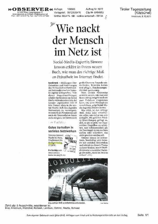 Tiroler Tageszeitung Kitzbuehl 08.10.2011