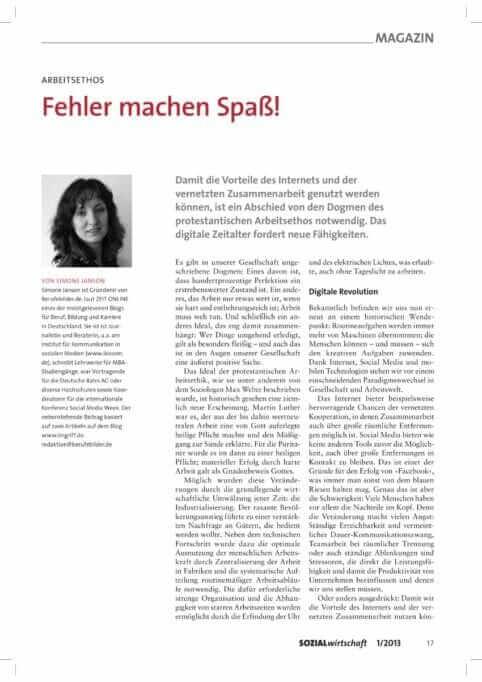 {Presse} Mein Beitrag in der Zeitschrift Sozialwirtschaft: Fehler mache Spaß! Sozialwirtschaft_01_2013_Janson-1