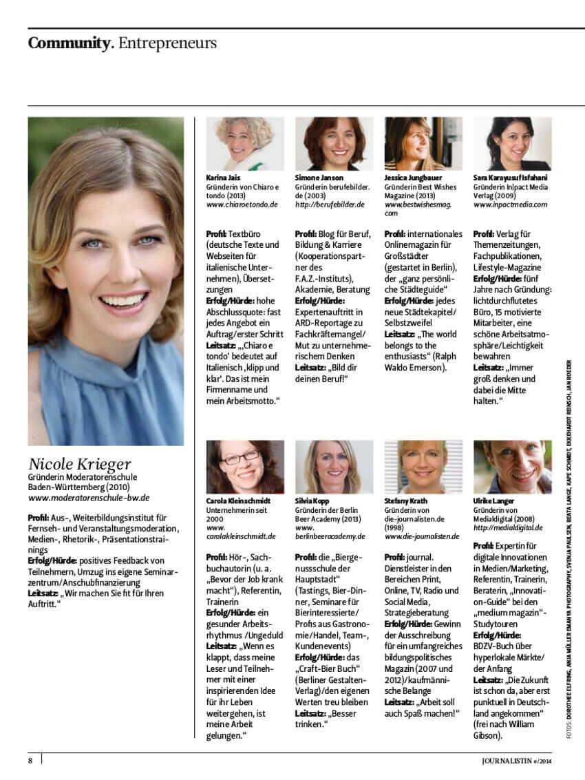 {Presse} Eine von 77 Unternehmerinnen des medium magazins: Macht was Eigenes! journalistin2
