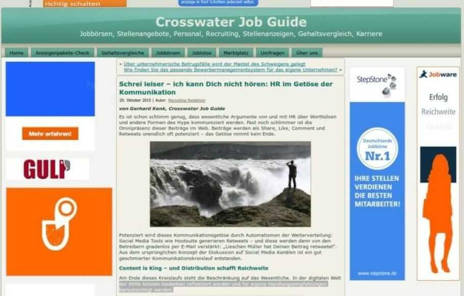 {Presse} HR-News-Benchmark im Review von Crosswater Systems: Ordnung im Kommunikationsgetöse crosswater