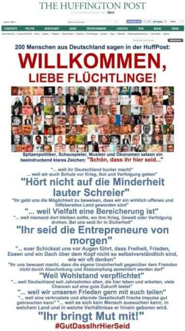 {Presse} 200 Politiker, Schauspieler und Ökonomen gegen Rechts: Wir sind dabei! Fluechtlinge