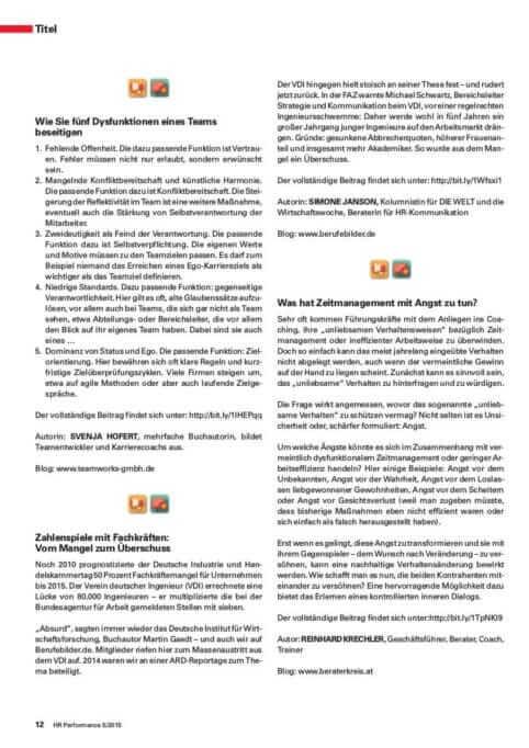{Presse} Best of HR – Berufebilder.de® in der Zeitschrift HR-Performance: HR-Blogger als Pioniere HR-P 5_2015_Blogger