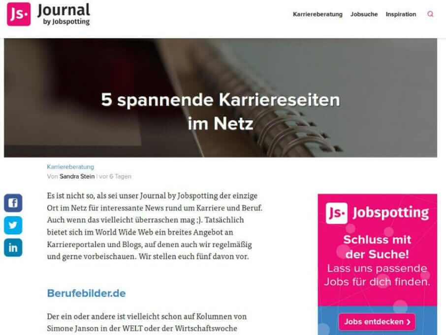 {Presse} Best of HR – Berufebilder.de® gehört zu den 5 spannenden Karriereseiten: