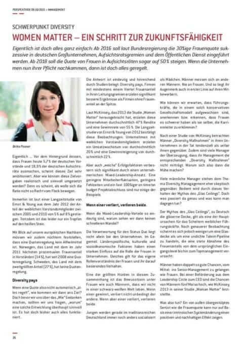 {Presse} Berufsverband für Fach- und Führungskräfte druckt uns: Women Matter Mixed-Leadership