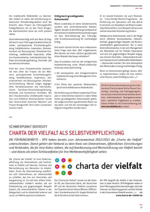 {Presse} Berufsverband für Fach- und Führungskräfte druckt uns: Women Matter Mixed-Leadership2