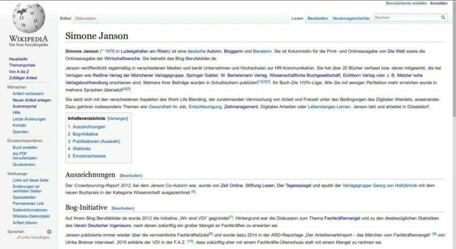 {Press} Best of HR – Berufebilder.de® and Simone Janson references: WIKIPEDIA entries wikipedia