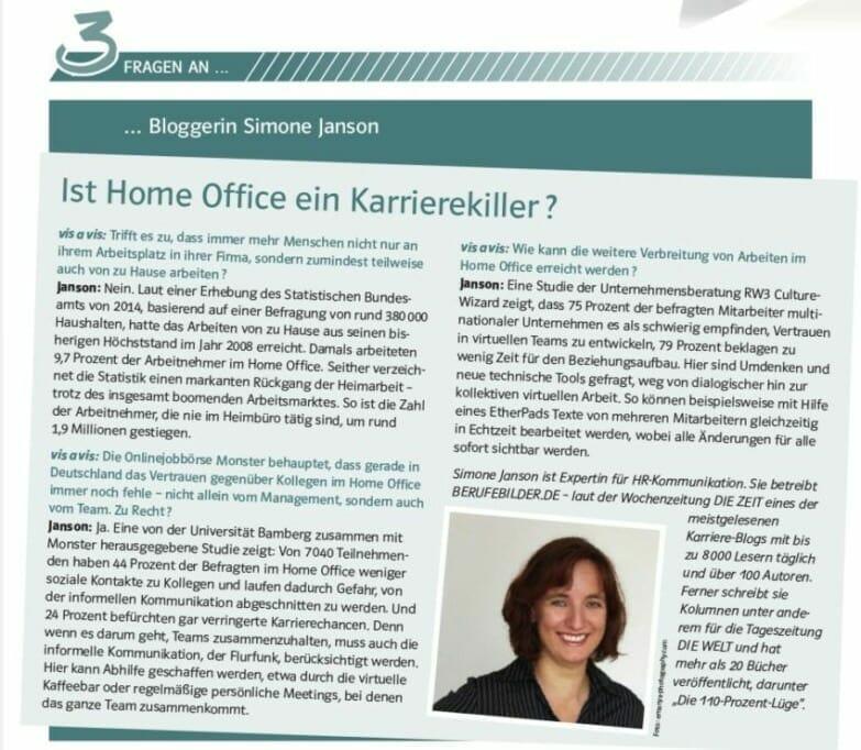 {Presse} Interview beim Arbeitgeberverband der Versicherungsunternehmen: Karrierekiller Home-Office? sjanson-karrierekiller-homeoffice