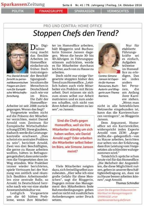 {Presse} Interview in der Sparkassen-Zeitung: Home Office – Fluch oder Segen? sparkassenzeitung_sjanson