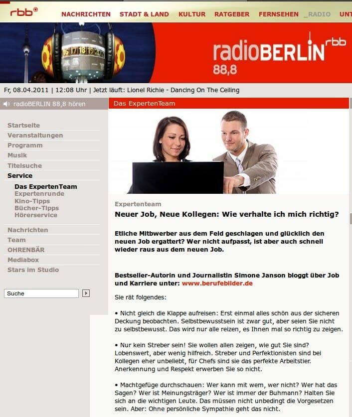 {Presse} Interview mit mir beim rbb: Thema Neu im Job {Presse} Interview mit mir beim rbb: Thema Neu im Job