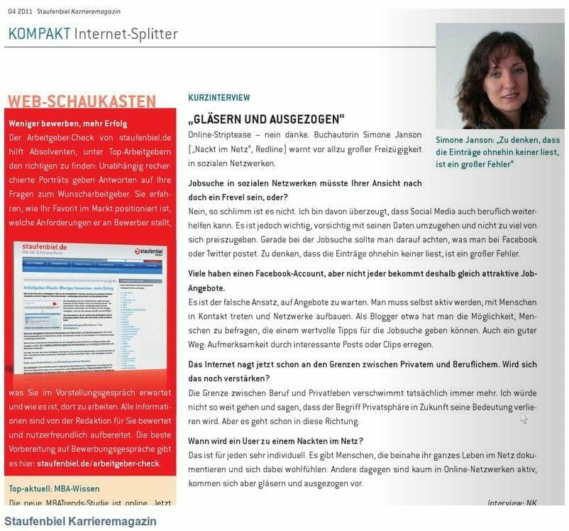 """{Presse} Interview mit mir zu """"Nackt im Netz"""" im Staufenbiel Karrieremagazin: Gläsern und ausgezogen"""