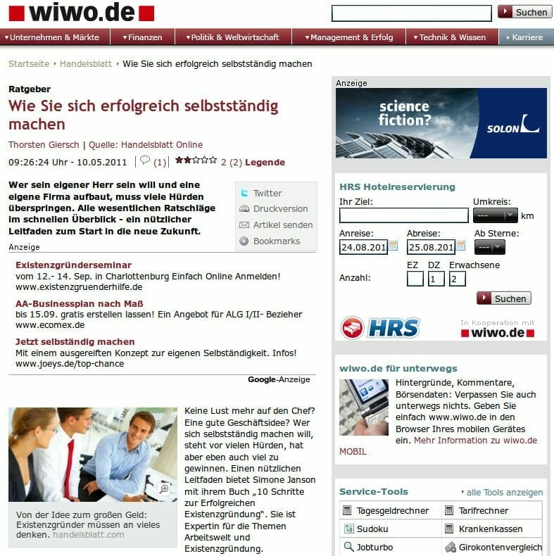 """Article in Wirtschaftswoche on my {press} """"10 steps to successfully starting a business"""": How to successfully start your own business"""