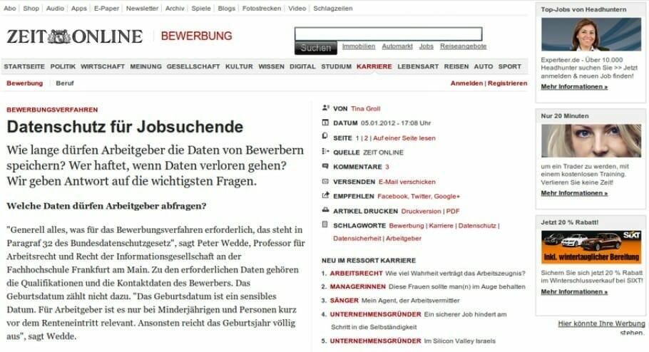 """{Presse} Mein Buch """"Nackt im Netz"""" bei ZEIT ONLINE: Datenschutz bei der Jobsuche"""